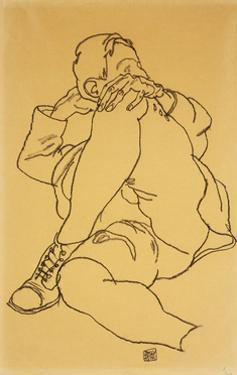 Young Man Reclining with his Head Resting on His Crossed Leg by Egon Schiele