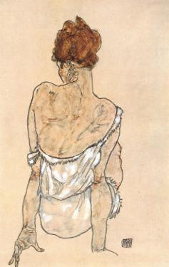 Zittende Vrouw on the Rug by Egon Schiele
