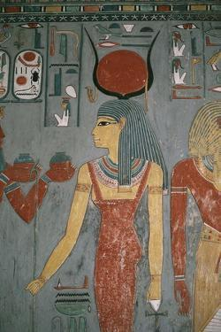 Egypt, Ancient Thebes, Valley of the Kings, Tomb of Horemheb, Mural Painting Depicting Goddess Isis