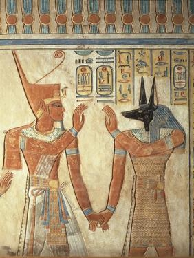 Egypt, Ancient Thebes, Valley of the Queens, Mural of Ramses III and God Anubis