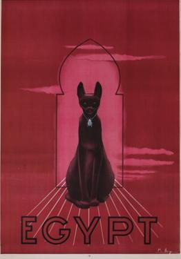 Egypt Cat with Scarab Travel Poster