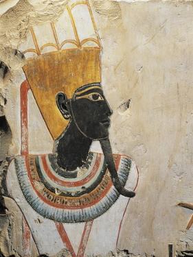 Egypt, Luxor, Ancient Egypt Museum, Black Face God from Dayr Al-Bahri