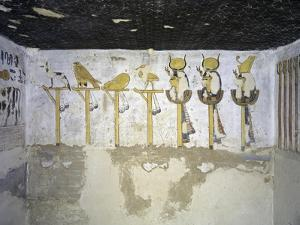 Egypt, Luxor, Valley of the Kings, Tomb of Ramses III, Mural Painting of Heads of Divinities