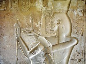 Egypt, Luxor, Valley of the Kings, Tomb of Seti II, Entrance Relief of Ra from Nineteenth Dynasty