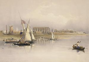 Egypt, Ruins of Luxor from River Nile Based on Drawing by David Roberts
