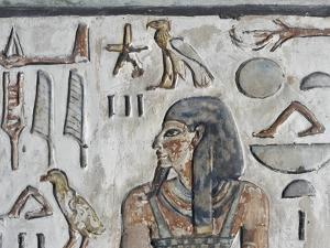 Egypt, Thebes, Luxor, Valley of the Kings, Close-Up of Mural Paintings