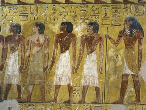 Egypt, Thebes, Luxor, Valley of the Kings, Detail of Mural Paintings in Main Hall of Tomb of Seti I