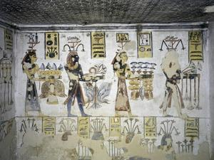 Egypt, Thebes, Luxor, Valley of the Kings, Tomb of Ramses III, Mural Painting of Ritual Offerings