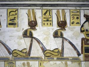 Egypt, Thebes, Luxor, Valley of the Kings, Tomb of Ramses III, Mural Painting of Serpent Kings