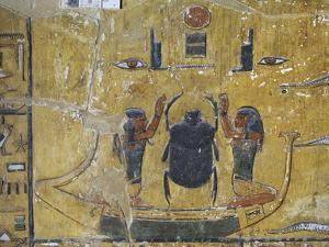 Egypt, Thebes, Luxor, Valley of the Kings, Tomb of Seti I, Mural Painting of Scarab Beetle