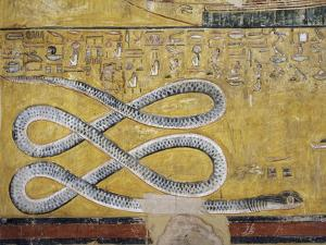 Egypt, Thebes, Luxor, Valley of the Kings, Tomb of Seti I, Mural Painting with Snake Motif