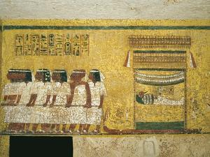 Egypt, Thebes, Luxor, Valley of the Kings, Tomb of Tutankhamen, Funerary Mural Paintings