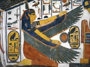 Egypt,Tomb of Nefertari, Staircase, Mural Paintings, Goddess Ma'at Spreads Wings for Protection