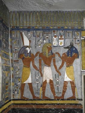 Egypt, Tomb of Ramses I, Mural Painting of Pharaoh Between Harsiesis and Anubis in Burial Chamber