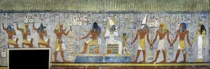 Egypt, Tomb of Ramses I, Mural Painting of Pharaoh Kneeling Between Harsiesis and Anubis