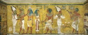 Egypt, Tomb of Tutankhamen, Mural Paintings of Pharaoh and Ka Meeting Osiris