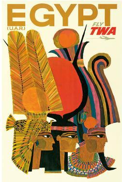 Egypt - Trans World Airlines Fly TWA - United Arab Republic (U.A.R.) - Egyptian Pharaohs
