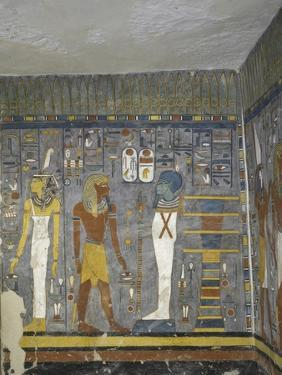 Egypt, Valley of the Kings, Tomb of Ramses I, Mural Painting of Ma'At, Pharaoh and Ptah