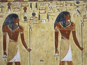 Egypt Valley of the Kings, Tomb of Seti I, Mural Painting of Two Gods, from Nineteenth Dynasty