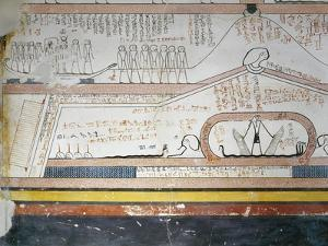 Egypt, Valley of the Kings, Tomb of Thutmose III, Mural Paintings from Burial Chamber