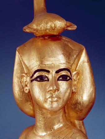 Detail of the Goddess Selket from the Canopic Shrine, from the Tomb of Tutankhamun by Egyptian 18th Dynasty