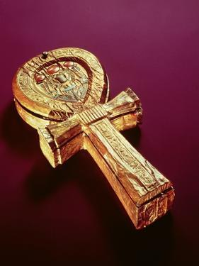 Mirror Case in the Form of an Ankh, from the Tomb of Tutankhamun by Egyptian 18th Dynasty