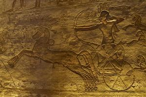 Egyptian Art. Great Temple of Ramses II. Military Campaign Against the Hittites. Ramses II in a…