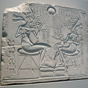 Egyptian Relief Depicting Akhenaten and Nefertiti with their Children