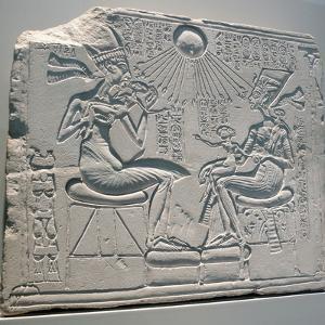 Egyptian Relief Depicting Akhenaten and Nefertiti with their Children