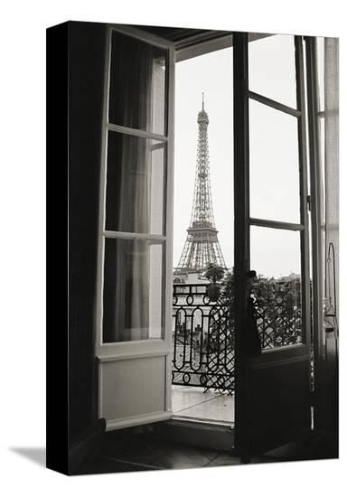 Eiffel Tower through French Doors-Christian Peacock-Stretched Canvas Print