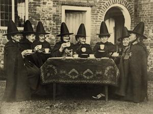 Eight Women in High Hats Having Tea in Norfolk, England, Ca. 1920