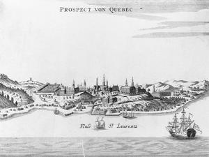 """Eighteenth Century Etching of """"Prospect Von Quebec"""""""