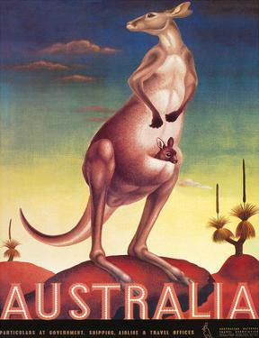 Australia, Airline & Travel Kangaroo c.1957 by Eileen Mayo