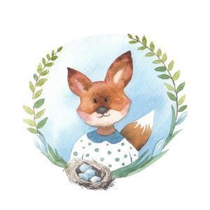 Little Fox Girl with Bird Nest Eggs by Eisfrei