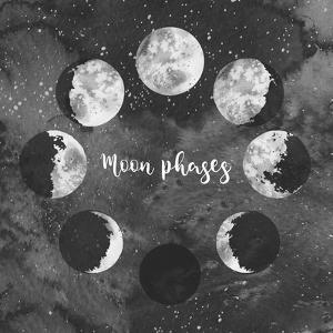 Moon Phases on Dark Galaxy Background by Eisfrei