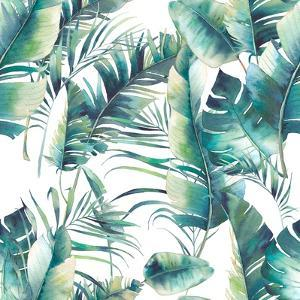 Summer Palm Tree and Banana Leaves by Eisfrei