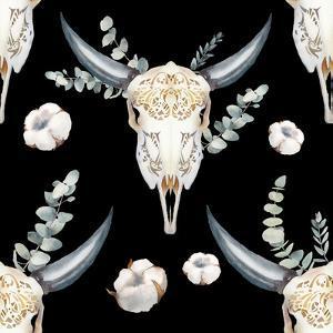 Watercolor Bull Skull Pattern by Eisfrei