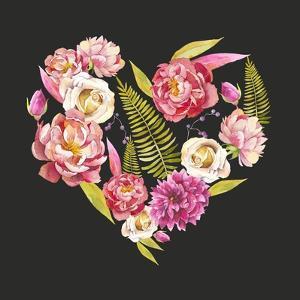 Watercolor Floral Heart: Roses, Peonies, Fern Leaves, Berries by Eisfrei