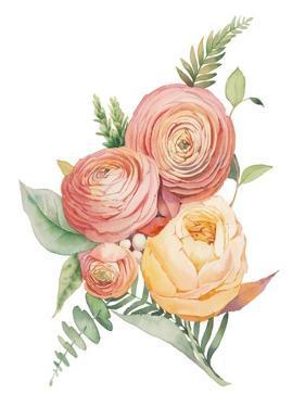 Watercolor Flowers Bouquet by Eisfrei