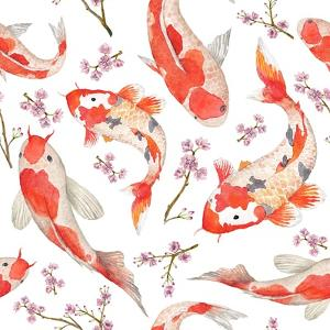 Watercolor Oriental Pattern with Rainbow Carps. Seamless Oriental Texture with Isolated Hand Drawn by Eisfrei