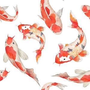 Watercolor Rainbow Carp Pattern. Seamless Oriental Texture with Isolated Hand Drawn Fishes. Underwa by Eisfrei