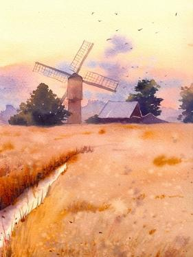 Watercolor Sunset Landscape with Mill by Eisfrei