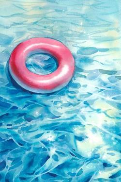 Watercolor Swimming Pool Illustration with Floating Ring and Sparkling Water by Eisfrei