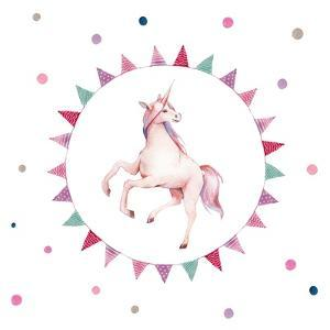 Watercolor Unicorn in Flag Wreath by Eisfrei