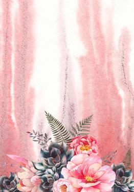 Watercolor with Peonies and Black Succulents by Eisfrei