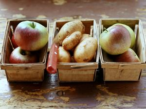 Fresh Apples and Potatoes in Chip Baskets by Eising Studio - Food Photo and Video