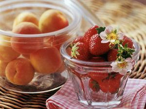 Fresh Apricots and Strawberries in Glass Jars by Eising Studio - Food Photo and Video