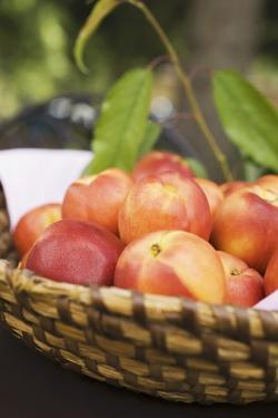 Fresh Nectarines in a Basket by Eising Studio - Food Photo and Video