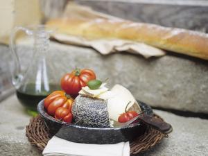 Italian Cheese, Tomatoes, Olive Oil and White Bread by Eising Studio - Food Photo and Video