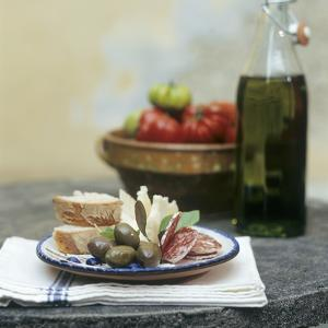 Italian Snack with Hard Cured Sausage, Olives and Cheese by Eising Studio - Food Photo and Video